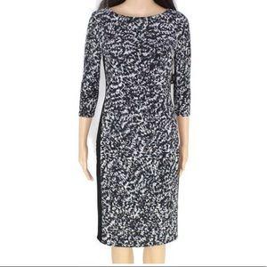 Lauren by Ralph Lauren navy leopard sleeved dress